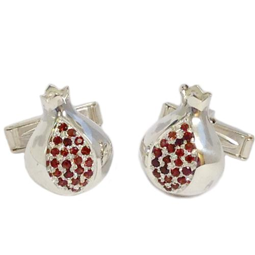 Sterling Silver and Garnets Pomegranate Cufflinks - Baltinester Jewelry