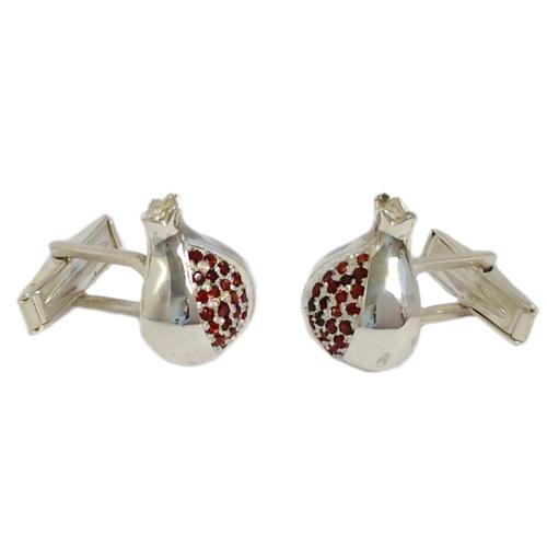 Sterling Silver and Garnets Pomegranate Cufflinks 2 - Baltinester Jewelry