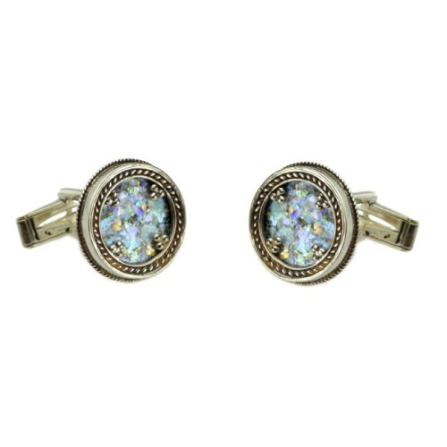 Silver Yemenite Roman Glass Cufflinks - Baltinester Jewelry