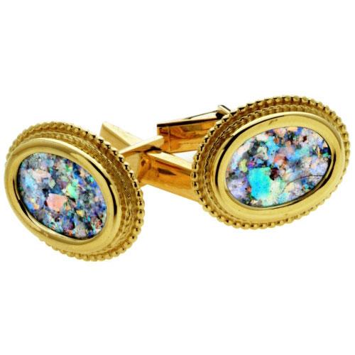 Yemenite 14k Gold Oval Roman Glass Cufflinks - Baltinester Jewelry