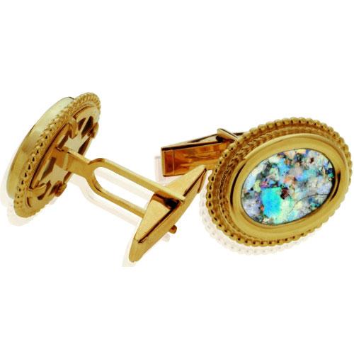 Yemenite 14k Gold Oval Roman Glass Cufflinks 2 - Baltinester Jewelry