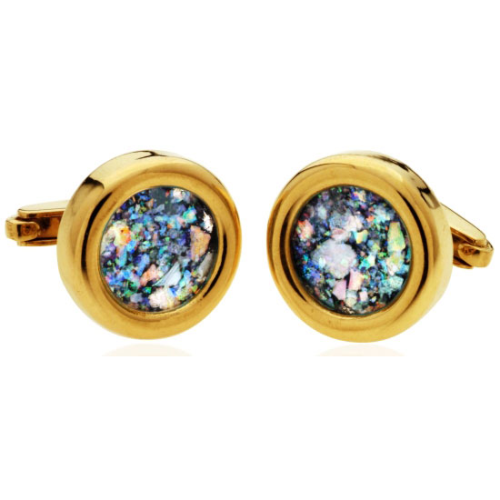 14k Gold Roman Glass Round Cufflinks - Baltinester Jewelry
