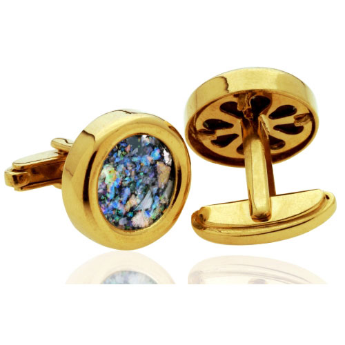14k Gold Roman Glass Round Cufflinks 2 - Baltinester Jewelry