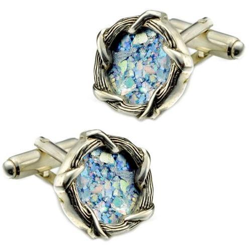 Sterling Silver Braided Roman Glass Cufflinks - Baltinester Jewelry