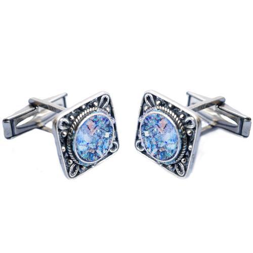 Silver Square Filigree Roman Glass Cufflinks - Baltinester Jewelry