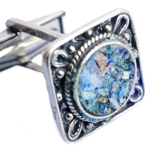 Silver Square Filigree Roman Glass Cufflinks 2 - Baltinester Jewelry