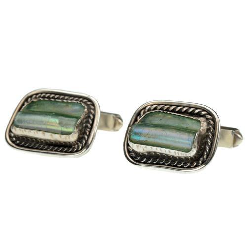 Sterling Silver Roman Glass Square Cufflinks - Baltinester Jewelry