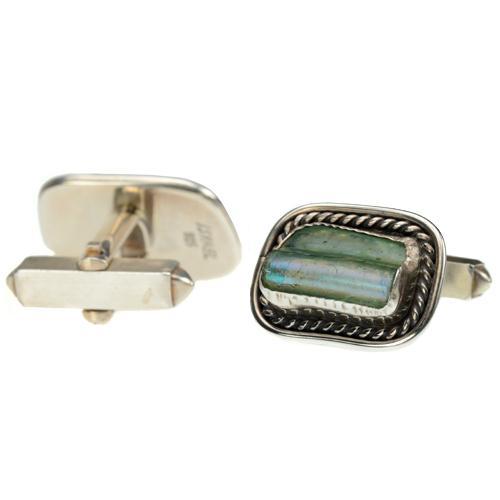 Sterling Silver Roman Glass Square Cufflinks 2 - Baltinester Jewelry