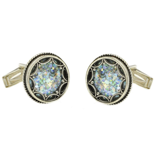 Sterling Silver Filigree Roman Glass Round Cufflinks - Baltinester Jewelry
