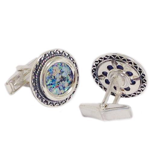 Filigree Sterling Silver Round Roman Glass Cufflinks 2 - Baltinester Jewelry