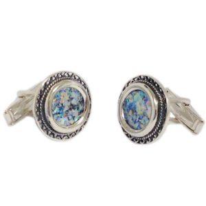 Filigree Sterling Silver Round Roman Glass Cufflinks - Baltinester Jewelry