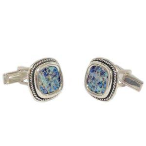 Roman Glass Braided Silver Square Cufflinks - Baltinester Jewelry