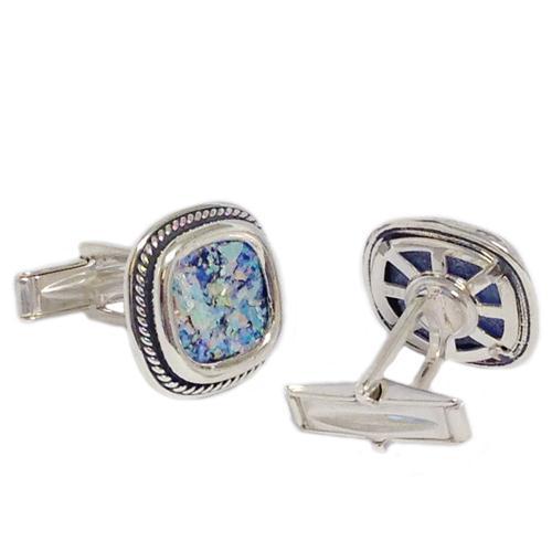 Roman Glass Braided Silver Square Cufflinks 2 - Baltinester Jewelry