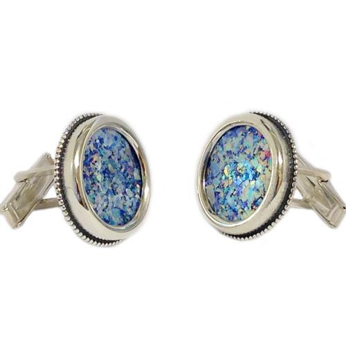 Sterling Silver Roman Glass Large Round Cufflinks - Baltinester Jewelry