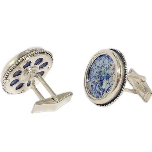 Sterling Silver Roman Glass Large Round Cufflinks 2 - Baltinester Jewelry