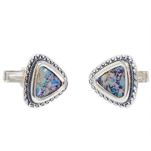 Triangular Filigree Roman Glass Silver Cufflinks - Baltinester Jewelry