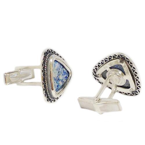 Triangular Filigree Roman Glass Silver Cufflinks 2 - Baltinester Jewelry