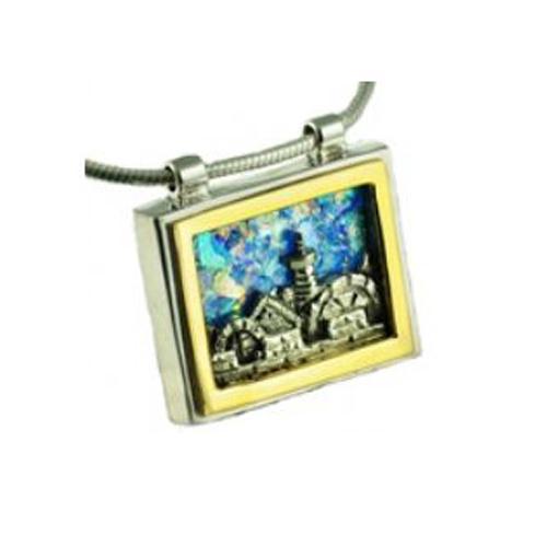 Sterling Silver Gold Roman Glass Jerusalem Pendant - Baltinester Jewelry