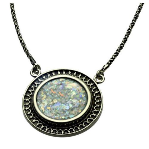 Sterling Silver Yemenite Circle Roman Glass Necklace - Baltinester Jewelry