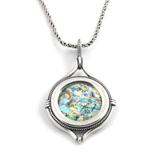 Silver Roman Glass Circular Necklace - Baltinester Jewelry