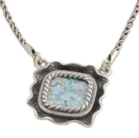 Reversible Sterling Silver Roman Glass Necklace - Baltinester Jewelry