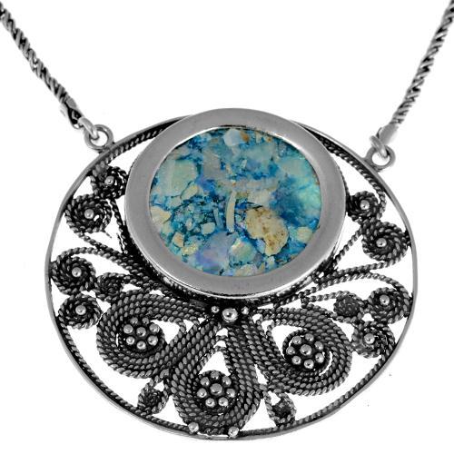 Roman Glass Filigree Silver Necklace - Baltinester Jewelry