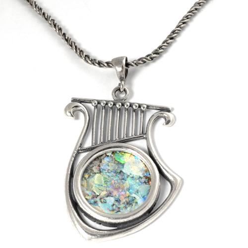 Silver Roman Glass Harp of David Necklace - Baltinester Jewelry