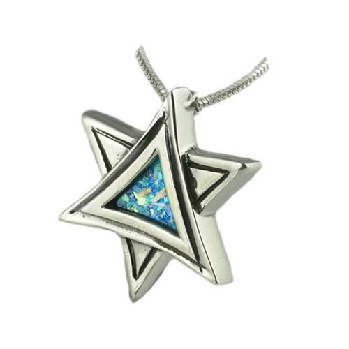 Silver Roman Glass Star of David Pendant - Baltinester Jewelry