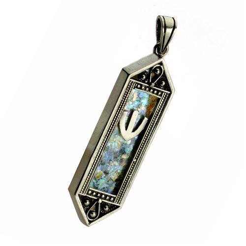 Sterling Silver Filigree Roman Glass Mezuza Pendant - Baltinester Jewelry