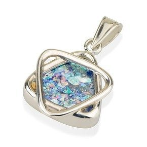 Sterling Silver Roman Glass Star of David Pendant - Baltinester Jewelry