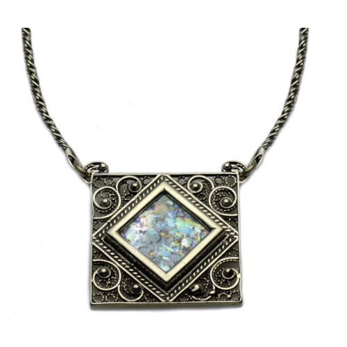 Silver Filigree Square Roman Glass Necklace - Baltinester Jewelry