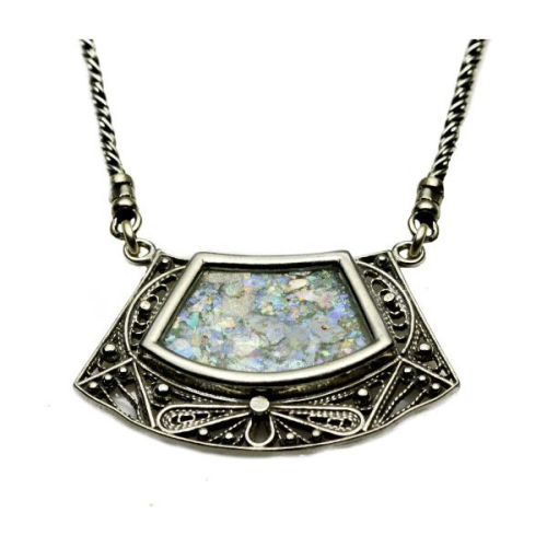 Silver Trapezoid Roman Glass Necklace - Baltinester Jewelry
