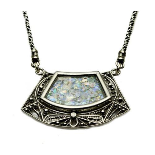 Silver Trapezoid Roman Glass Necklace - Baltinester Jewelry