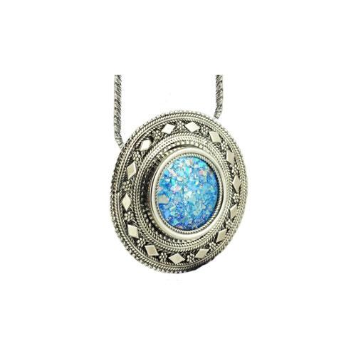 Sterling Silver Yemenite Roman Glass Necklace - Baltinester Jewelry