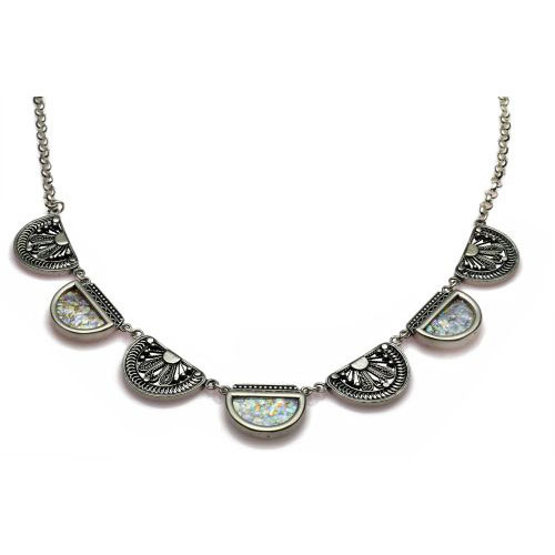 Sterling Silver Filigree Semi Circles Roman Glass Necklace - Baltinester Jewelry