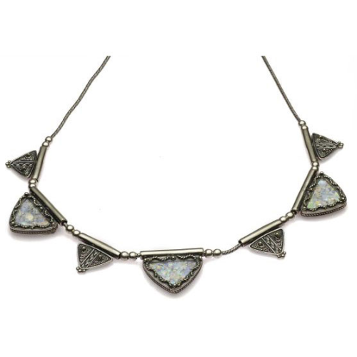 Sterling Silver Yemenite Roman Glass Triangles Necklace - Baltinester Jewelry