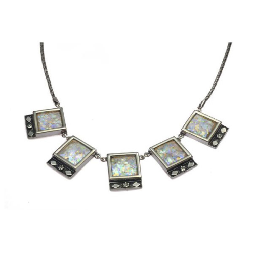 Sterling Silver Roman Glass squares/rhombus necklace - Baltinester Jewelry