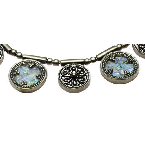 Sterling Silver Yemenite Roman Glass Circles Necklace - Baltinester Jewelry