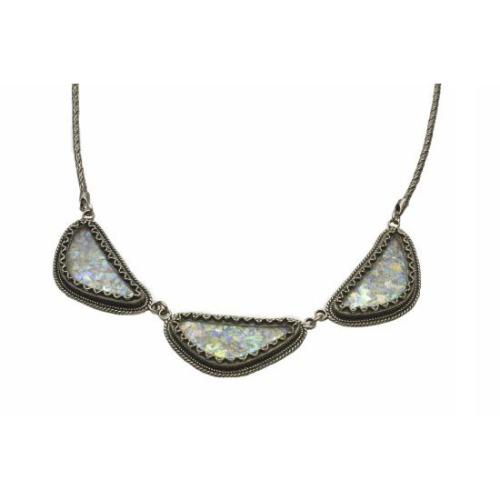 Sterling Silver Yemenite Triangle Roman Glass Necklace - Baltinester Jewelry
