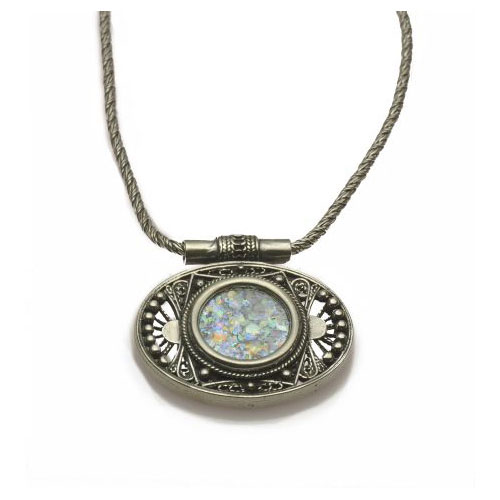Filigree Oval Roman Glass Necklace Sterling Silver - Baltinester Jewelry