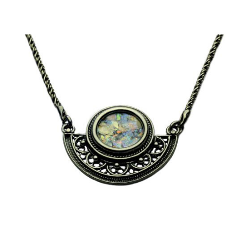 Sterling Silver Semi Circle Filigree Roman Glass Necklace - Baltinester Jewelry