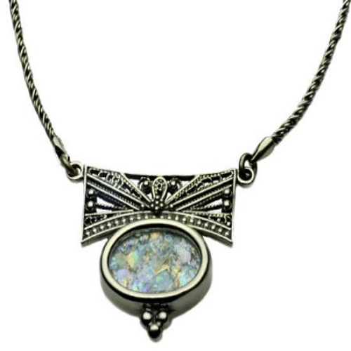 Sterling Silver Filigree Oval Roman Glass Necklace - Baltinester Jewelry