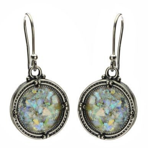 Sterling Silver Filigree Roman Glass Round Earrings - Baltinester Jewelry