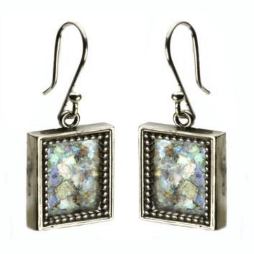 Sterling Silver Filigree Roman Glass Rectangle Earrings - Baltinester Jewelry
