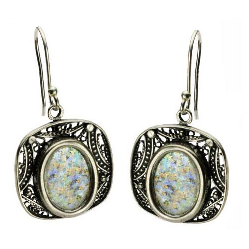 Sterling Silver Roman Glass Geometric Earrings - Baltinester Jewelry