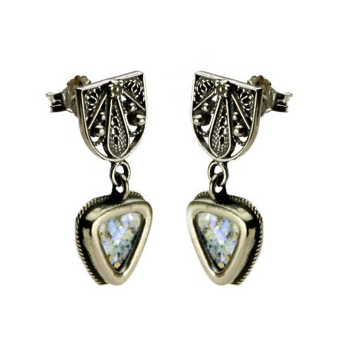 Sterling Silver Filigree Triangle Roman Glass Earrings - Baltinester Jewelry