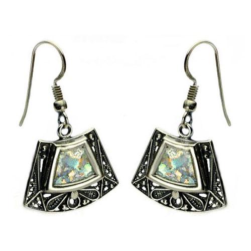 Sterling Silver Roman Glass Trapezoid Earrings - Baltinester Jewelry