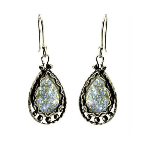 Sterling Silver Roman Glass Tear Drop Earrings - Baltinester Jewelry