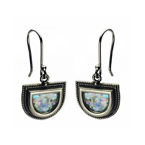 Sterling Silver Filigree Roman Glass Half Circles Earrings - Baltinester Jewelry