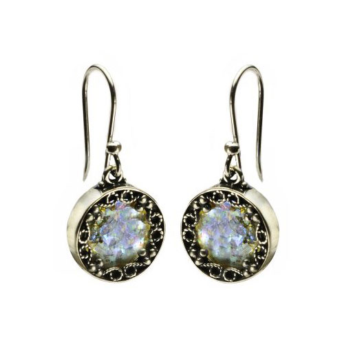Sterling Silver Sparkling Roman Glass Round Earrings - Baltinester Jewelry